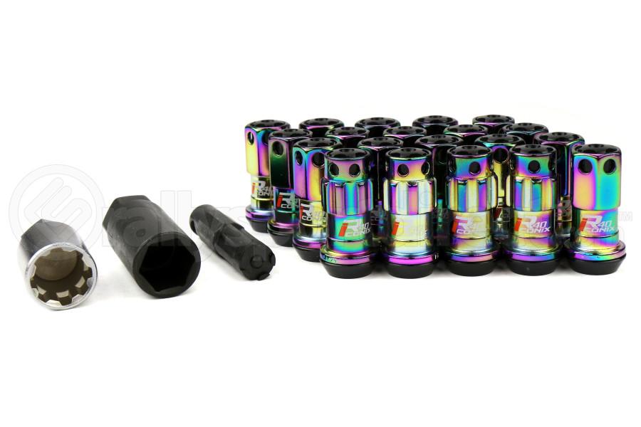 KICS R40 Iconix Neo Chrome Locking Lug Nuts W/ Black Caps M12X1.25 (Part Number:WRIA13N)