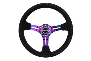 NRG Reinforced Steering Wheel 350mm Suede 3in Deep Slotted Neochrome - Universal
