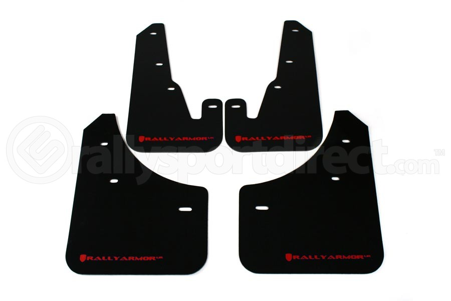 Rally Armor UR Mudflaps Black Urethane Red Logo (Part Number:MF9-UR-BLK/RD)