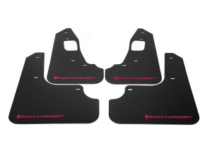 Rally Armor UR Mudflaps Black Urethane Red Logo ( Part Number:RAL MF10-UR-BLK/RD)