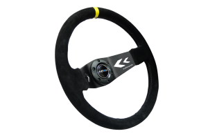 NRG Reinforced Steering Wheel Arrow Cut Out 350mm Suede Black w/ Yellow Stripe - Universal