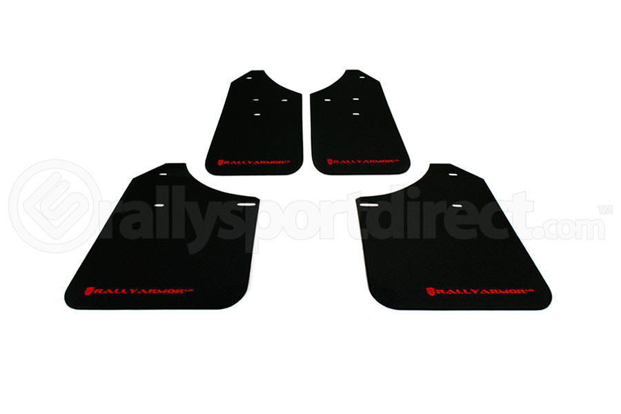 Rally Armor UR Mudflaps Black Urethane Red Logo (Part Number:MF1-UR-BLK/RD)