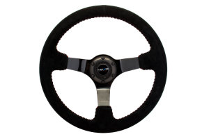 NRG Reinforced Steering Wheel 350mm Suede 3in Deep Black Chrome w/ Red Stitch - Universal