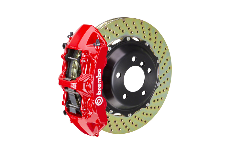 Brembo GT Systems Monobloc 6 Piston Front Big Brake Kit Red Drilled Rotors - Honda Civic Type R 2017+