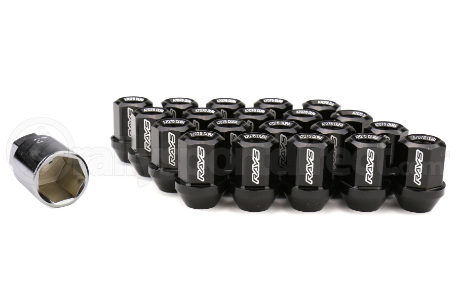 Volk Racing Dura-Nut L32 Straight Type Lug Nuts M12X1.50 Black (Part Number:WDURA3212150B)