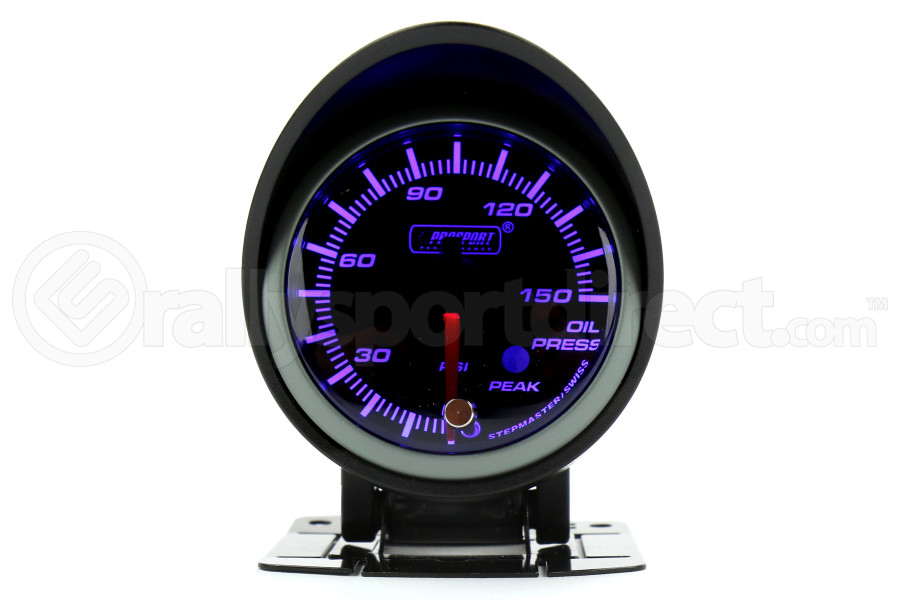 ProSport Oil Pressure Gauge Electrical w/Sender Blue/White 52mm (Part Number:216SMWBOPSWL270-PK.PSI)