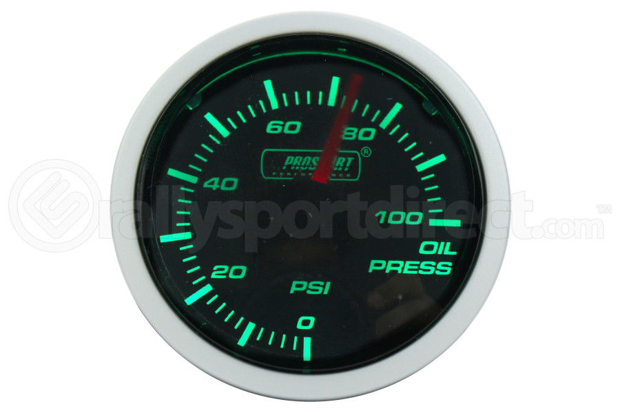 ProSport Oil Pressure Gauge Electric w/Sender Green/White 52mm (Part Number:216BFWGOPSM.PSI)