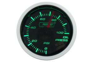 ProSport Oil Pressure Gauge Electric w/Sender Green/White 52mm (Part Number: )