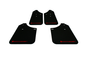 Rally Armor UR Mudflaps Black Urethane Red Logo (Part Number: MF1-UR-BLK/RD)