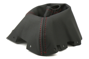 AutoStyled Black Leather Shift Boot w/ Red Stitching Short Shifter ( Part Number: 1303030101)