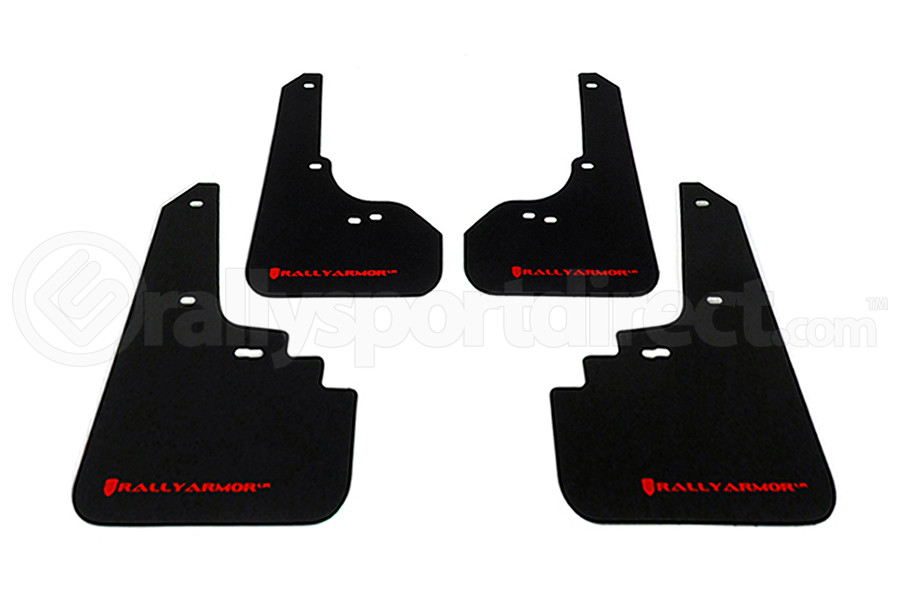 Rally Armor UR Mudflaps Black Urethane Red Logo ( Part Number:RAL MF4-UR-BLK/RD)