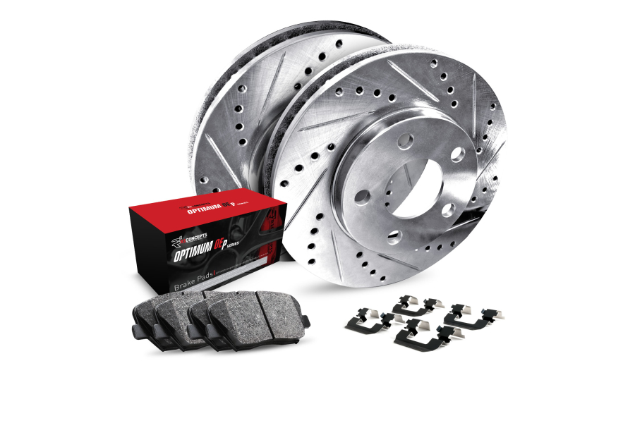 R1 Concepts Rear Brakes w/ Silver Drilled and Slotted Rotors, 5000 OEP Brake Pads and Hardware - Subaru Models (inc. 2002-2003 WRX / 1999-2003 Impreza)
