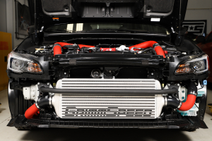 GrimmSpeed Front Mount Intercooler Kit Silver Core w/ Red Piping - Subaru STI 2015 - 2020