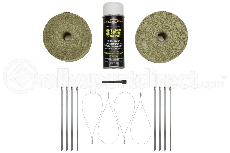 DEI Exhaust Wrap Kit Tan w/White HT Silicone Spray & SS Locking Ties ( Part Number:DEI 010091)