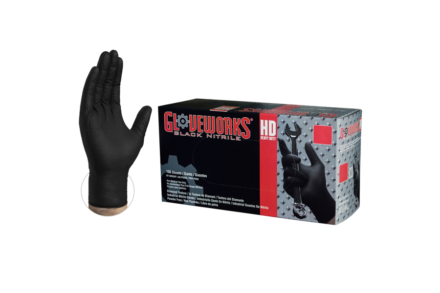 Ammex GloveWorks Diamond Textured Black Nitrile Gloves - Universal