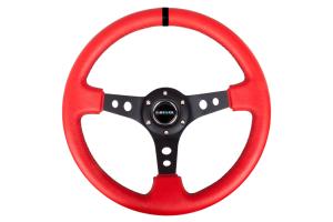 NRG Reinforced Steering Wheel 350mm 3in Deep Black / Red w/ Black Stripe - Universal