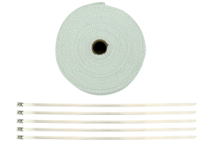 ProSport Fiberglass Heat Wrap White 50ftx2in roll w/ 5 Stainless Steel Zip Ties (Part Number: )