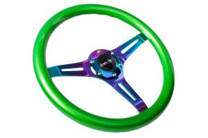 NRG Classic Wood Grain Wheel 350mm Neochrome / Green Pearl - Universal