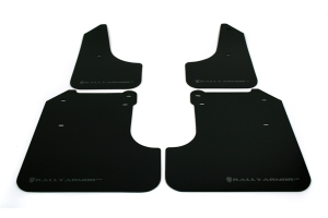 Rally Armor UR Mudflaps Black Urethane Silver Logo (Part Number: )