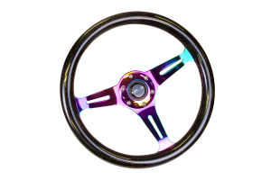 NRG Classic Wood Grain Wheel 350mm Neochrome / Galaxy Sparkle Black - Universal
