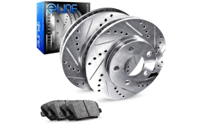 R1 Concepts E- Line Series Rear Brakes w/ Silver Drilled and Slotted Rotors and Ceramic Pads - Subaru Models (inc. 1990-1998 Legacy / 1993-1996 Impreza)
