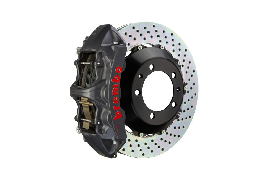Brembo GT-S System 6 Piston Front Brake Kit Hard Anodized Drilled Rotors - Volkswagen Models (inc. 2006-2014 GTI)