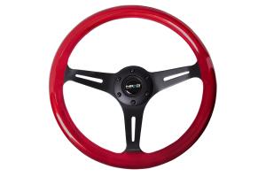 NRG Classic Wood Grain Wheel 350mm Black / Red Pearl - Universal