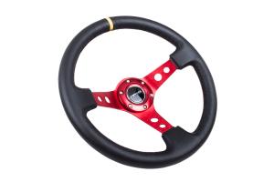 NRG Reinforced Steering Wheel 350mm 3in Deep Red w/ Yellow Stripe - Universal