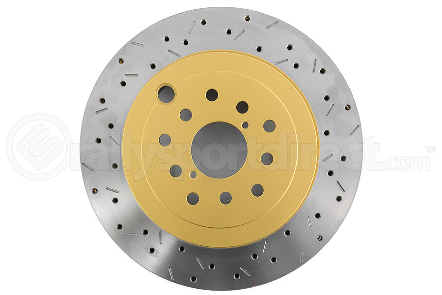 Dba cross-drilled slotted rotors show slots barcode not present