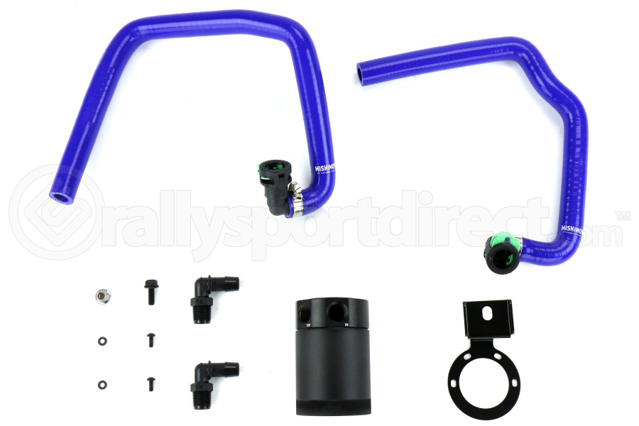 Mishimoto Baffled Oil Catch Can PCV Side Black w/ Blue Hose ( Part Number:MIS MMBCC-MUS4-15PBL)