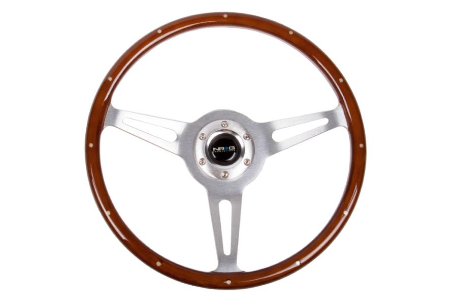 NRG Classic Wood Grain Wheel 365mm Brushed / Brown - Universal