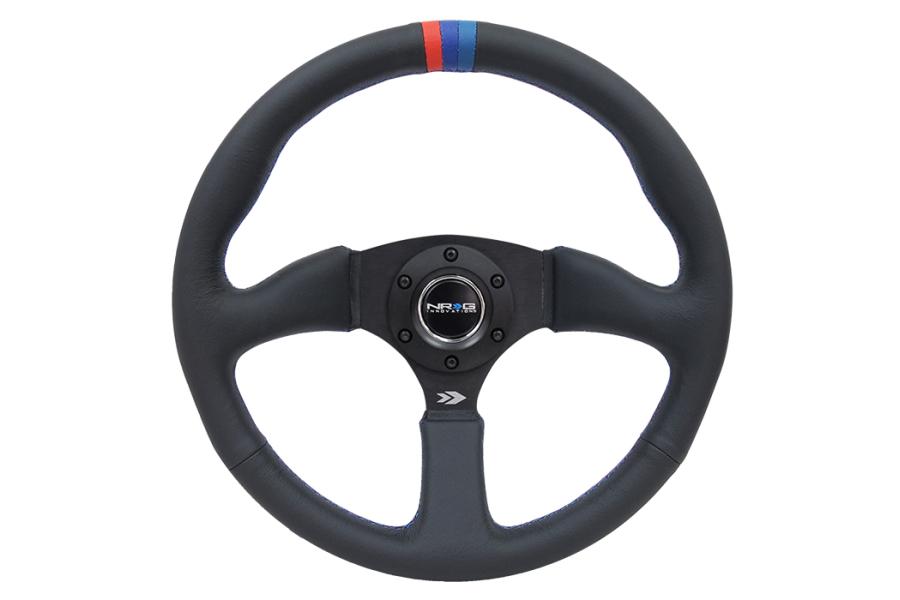 NRG Reinforced Steering Wheel 350mm Comfort Black w/ M3 Inspired Stripe - Universal