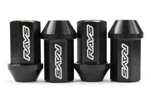 Volk Racing Dura-Nut L42 Straight Type M12X1.25 Lock and Nut Set Black (Part Number: )