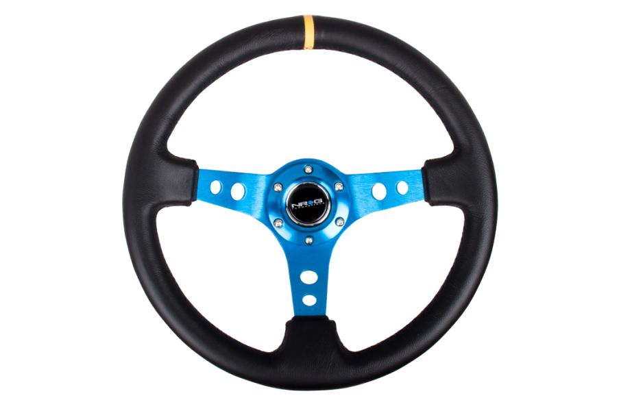 NRG Reinforced Steering Wheel 350mm 3in Deep Blue w/ Yellow Stripe - Universal