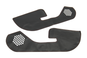 OLM Carbon Look Kick Guard Protection Set w/ Red Stitching for Non-HK Sound System - Subaru WRX / STI 2015+