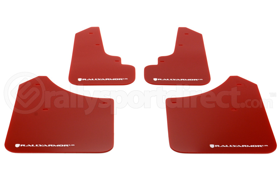 Rally Armor UR Mudflaps Red Urethane White Logo (Part Number:MF5-UR-RD/WH)