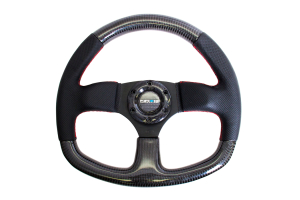 NRG Carbon Fiber Steering Wheel 320mm Flat Bottom Black w/Red Stitching - Universal