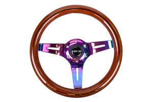 NRG Classic Wood Grain Wheel 310mm Neochrome / Brown w/ Black Inlay - Universal