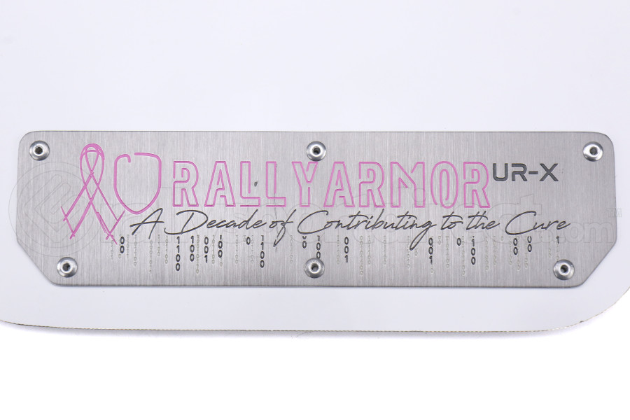 Rally Armor UR Mudflaps Breast Cancer Awarness White w/ Silver Emblem - Subaru WRX/STI 2015+
