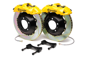 Brembo Gran Turismo 6 Piston Front Brake Kit Yellow Slotted Rotors ( Part Number: 1M2.8034A5)