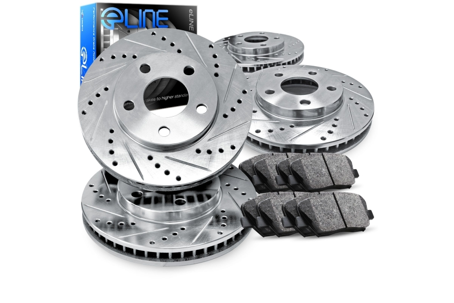 R1 Concepts E- Line Series Brake Package w/ Silver Drilled and Slotted Rotors and Ceramic Pads - Subaru WRX 2002-2003