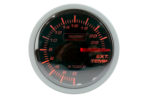 ProSport Exhaust Gas Temperature Gauge w/ Probe 52mm Amber/White (Part Number: 216BFWAEGTSM.F)