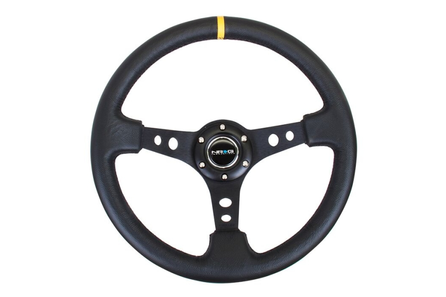 NRG Reinforced Steering Wheel 350mm 3in Deep Black w/ Yellow Stripe - Universal