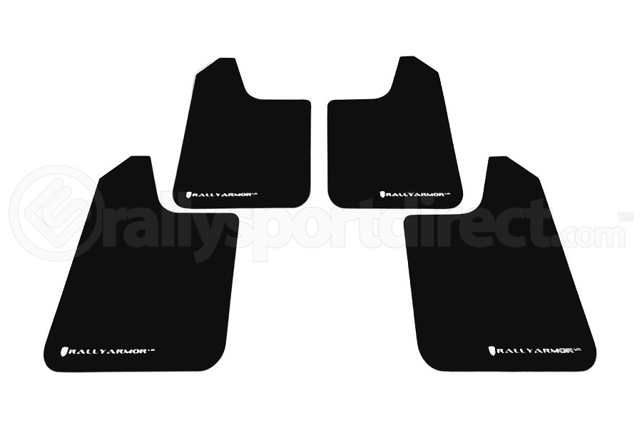 Rally Armor Universal UR Mudflaps Black Urethane White Logo (Part Number:MF12-UR-BLK/WH)