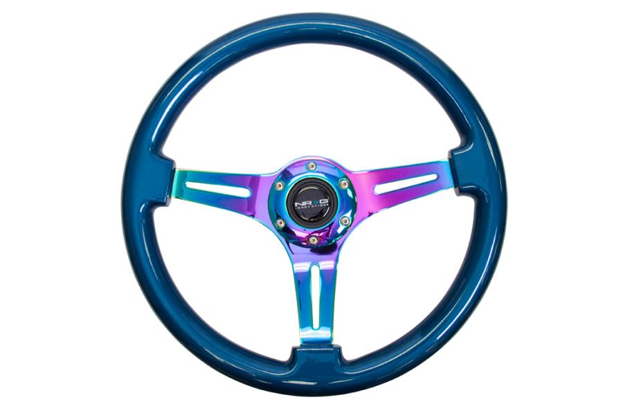 NRG Classic Wood Grain Wheel 350mm Neochrome / Blue Pearl - Universal