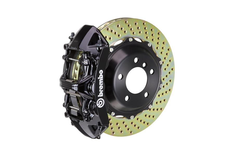 Brembo GT System 6 Piston Front Brake Kit Black Drilled Rotors - Volkswagen Models (inc. 2015+ GTI)