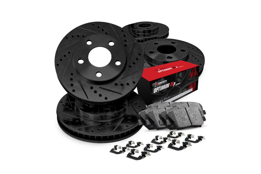 R1 Concepts Brake Package w/ Black Drilled and Slotted Rotors, 5000 OEP Brake Pads and Hardware - Subaru Models (inc. 1999-2001 Impreza / 1998-2002 Forester)