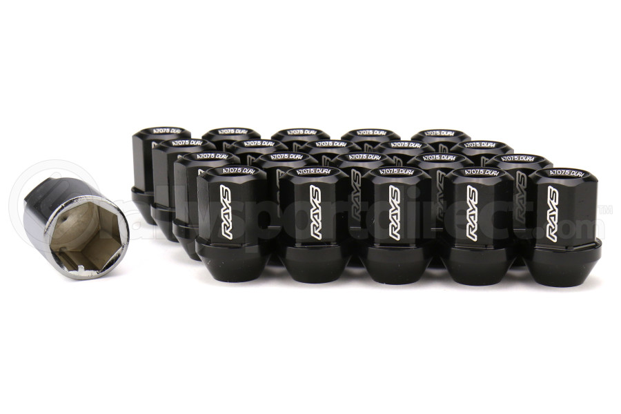 Volk Racing Dura-Nut L32 Straight Type Lug Nuts M12X1.25 Black (Part Number:WDURA3212125B)
