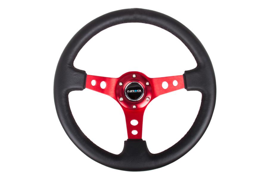 NRG Reinforced Steering Wheel 350mm 3in Deep Red - Universal