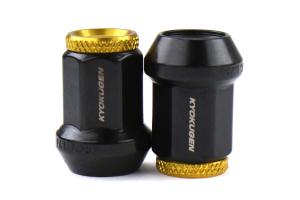 KICS Kyokugen Lug Nuts w/ Aluminum Cap 12x1.25 Black / Gold - Universal